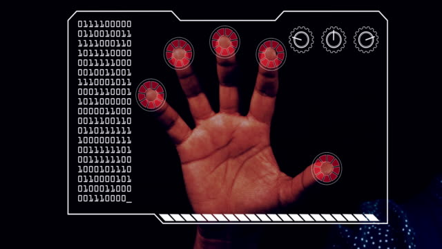 graded close-up of a woman's hand with hud scanning graphic overlay finishing with red 'access denied' finger trackers. - biomedical animation video stock e b–roll