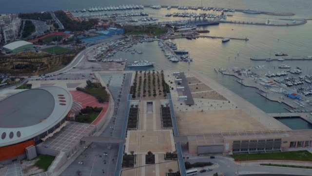 graded footage - aerial - drone - flying into faliro bay - athens, greece, 2 of 4 - athens greece stock videos & royalty-free footage