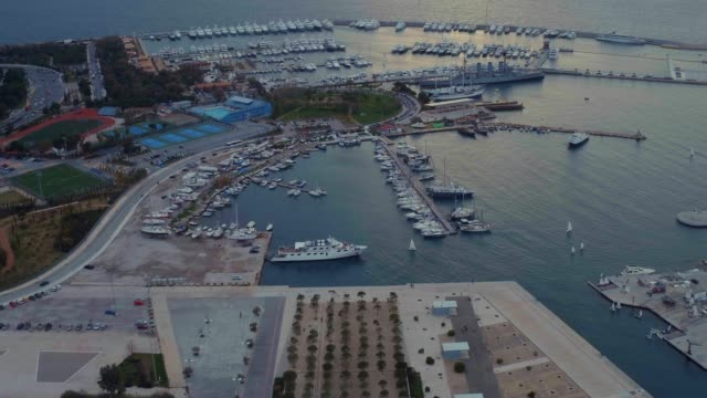 graded footage - aerial - drone - flying into faliro bay - athens, greece, 3 of 4 - athens greece stock videos & royalty-free footage