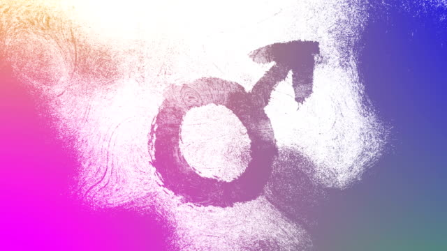 gradient mars, male, gender symbol on a high contrasted grungy and dirty, animated, distressed and smudged 4k video background with swirls and frame by frame motion feel with street style for the concepts of gender equality, women-social issues - gender symbol stock videos & royalty-free footage