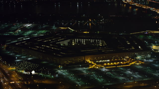 Gradual approach to the Pentagon at night, Potomac River in background. Shot in 2011.