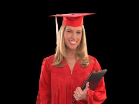 vídeos y material grabado en eventos de stock de graduate smiling - this clip has an embedded alpha-channel - keyable
