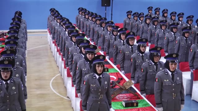 graduation ceremony of afghan female police cadets after a fivemonth training program at sivas police vocational school in sivas turkey on march 13... - afghanistan stock videos & royalty-free footage