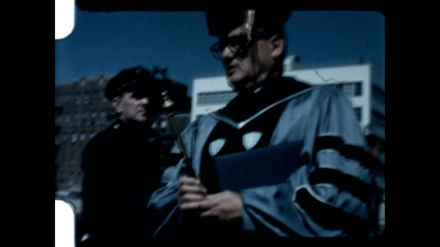 stockvideo's en b-roll-footage met graduation for yeshiva college taking place in washington heights in the early 1960's - diploma