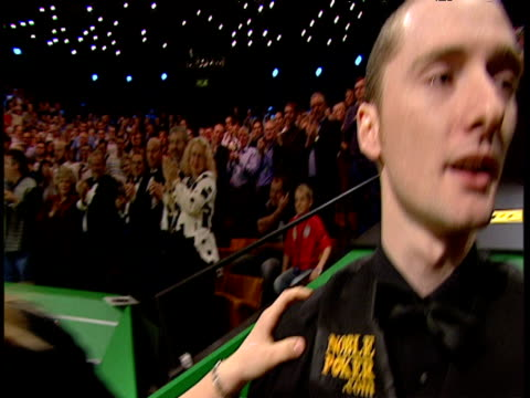 graeme dott hugs his wife and father following his victory over peter ebdon world snooker championship final crucible theatre sheffield 01 may 06 - world championship stock videos & royalty-free footage