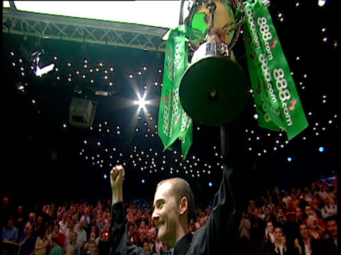 graeme dott poses with trophy following his victory over peter ebdon world snooker championship final crucible theatre sheffield 01 may 06 - championships stock videos and b-roll footage