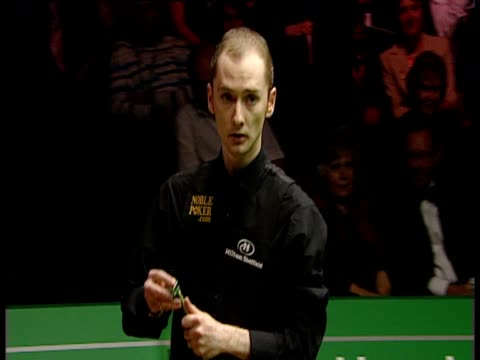 graeme dott walks over to kiss trophy and celebrates as he closes out match against peter ebdon while his family watch backstage world snooker... - pool cue sport stock videos & royalty-free footage