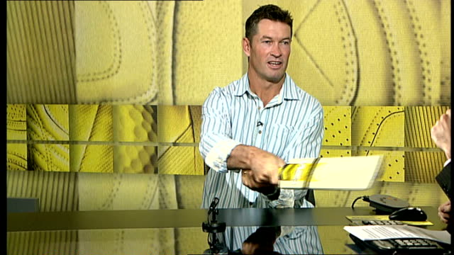 London GIR INT Graeme Hick interview SOT Explains difference between reverse sweep and switchshot /Difference is in grip of hands/Danger of bat...