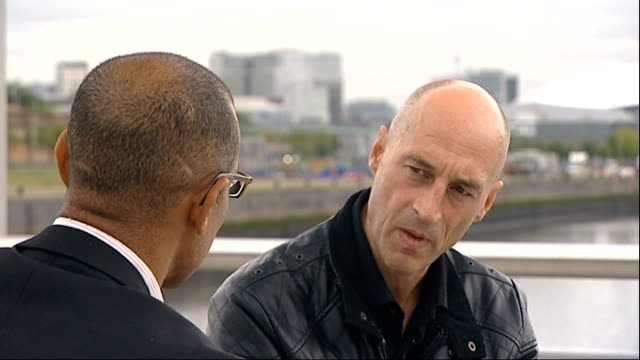 graeme obree to attempt to break world land speed record obree interview with reporter in shot sot - world record stock videos and b-roll footage