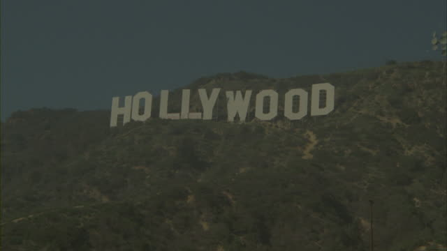 Graffiti defacing the Hollywood Sign at the Hollywood Hills in Los Angeles.