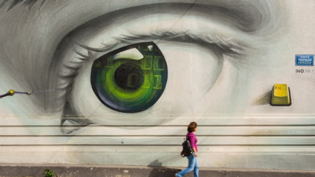 graffiti in athens city center by graffiti artist ino - big brother orwellian concept stock videos & royalty-free footage