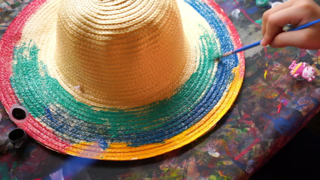 graffiti on straw hat - straw hat stock videos and b-roll footage