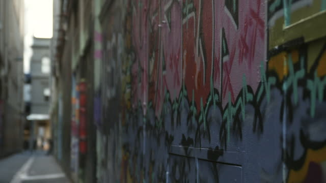 cu graffiti on wall, melbourne, victoria, australia - alley stock videos & royalty-free footage