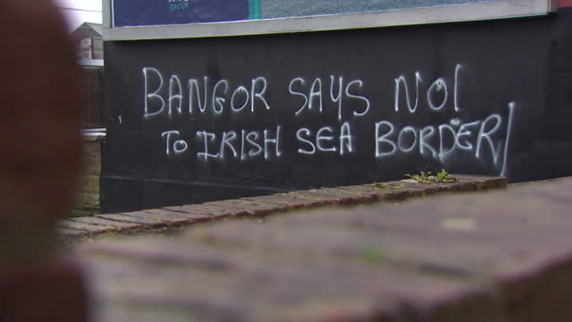 """graffiti saying """"no to irish sea border"""", in northern ireland, after deal struck in uk eu brexit deal proves unpopular and is causing delays for... - ulster county stock videos & royalty-free footage"""