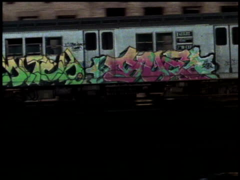 1982 WS Graffiti-covered train running on elevated track / Bronx, New York City, New York, United States