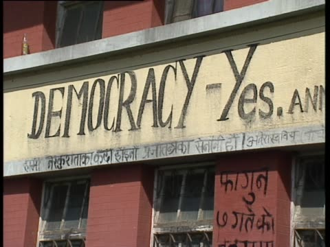 graffitti saying 'democracy - yes', nepal - democracy stock videos & royalty-free footage