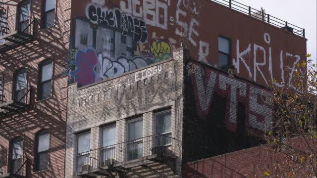 Grafitti on the side of Manhattan apartment buildings