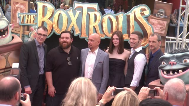 graham annable nick frost sir ben kingsley elle fanning travis knight and anthony stacchi atthe boxtrolls los angeles premiere presented by focus... - ben kingsley stock videos & royalty-free footage