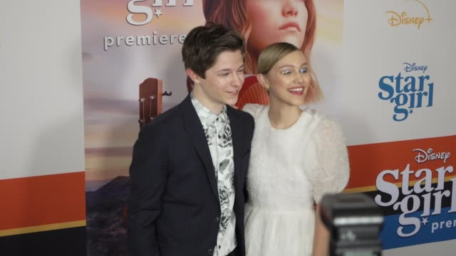 graham verchere grace vanderwaal at the world premiere of disney stargirl on march 10 2020 in hollywood california - gif stock videos & royalty-free footage