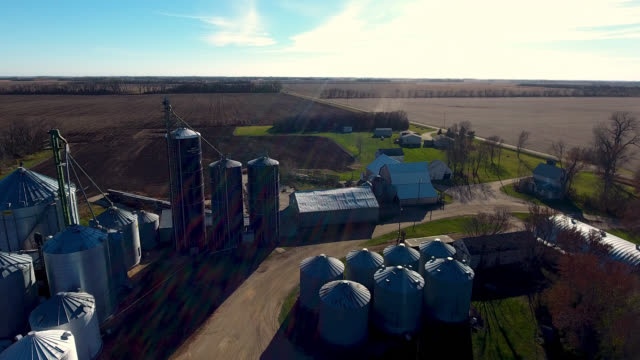 grain elevators on farm land - dakota del sud video stock e b–roll