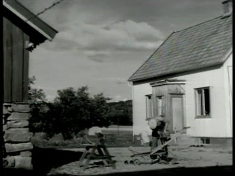 grain field farmhouses bg ws swedish farmer fixing harrow ms hammering harrow vs farmers piling hay w/ pitchfork - 干草用熊手点の映像素材/bロール