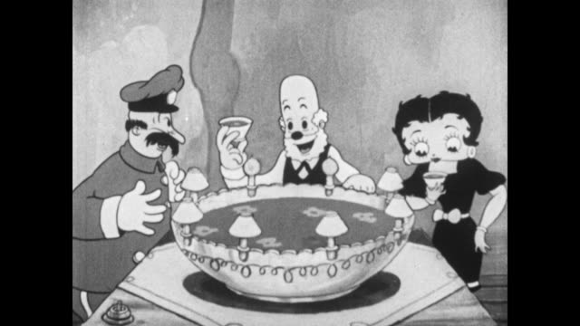 Grampy serves punch to Betty Boop and friends at party