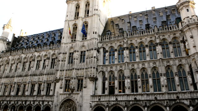 Gran Place in Brussels, Belgium with focus on Town Hall