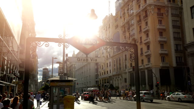 gran vía in madrid - madrid stock videos and b-roll footage