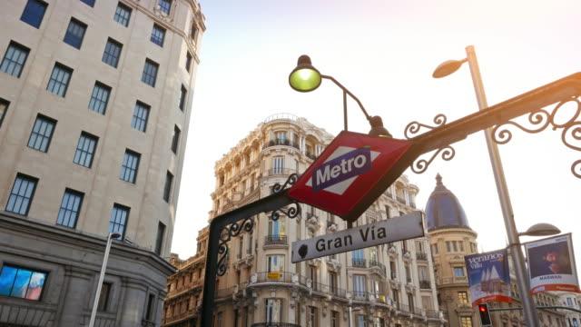 gran via 地下鉄サインインマドリッド - マドリード点の映像素材/bロール