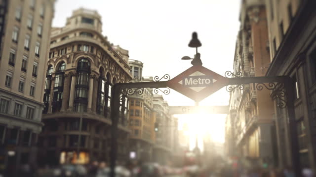 gran via metro sign in madrid - madrid stock videos and b-roll footage