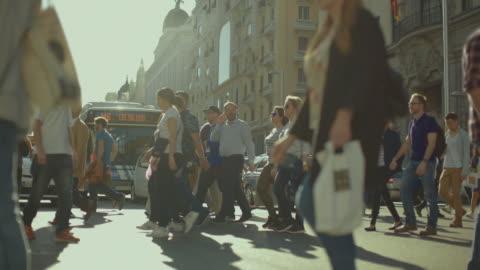 gran via of madrid, capital city of spain - large group of people stock videos & royalty-free footage