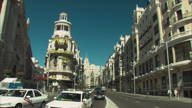 WS TU PAN Gran Via traffic and Metropolis Building facade, Madrid, Spain