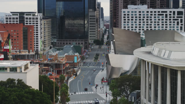 grand avenue in dtla during covid-19 lockdown - high street stock videos & royalty-free footage