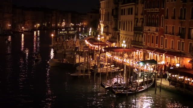 WS HA LD Grand Canal at Night / Venice, Italy