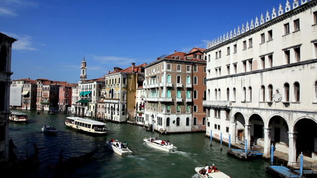 grand canal gondolas and taxi boat, venice, italy - grand canal venice stock videos & royalty-free footage
