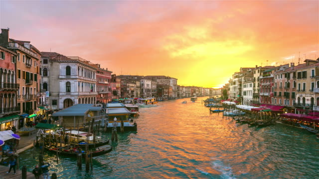 grand canal in venice, italy at sunset - grand canal venice stock videos & royalty-free footage