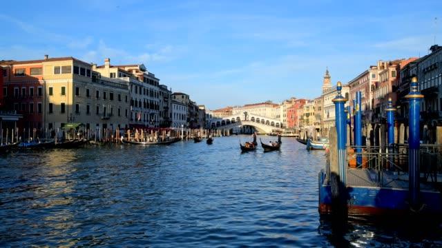 grand canal with gondolas and rialto bridge, venice, venetian lagoon, veneto, italy - venedig stock-videos und b-roll-filmmaterial