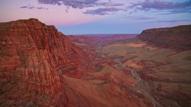 aerial grand canyon at dusk - sedimentary rock stock videos & royalty-free footage