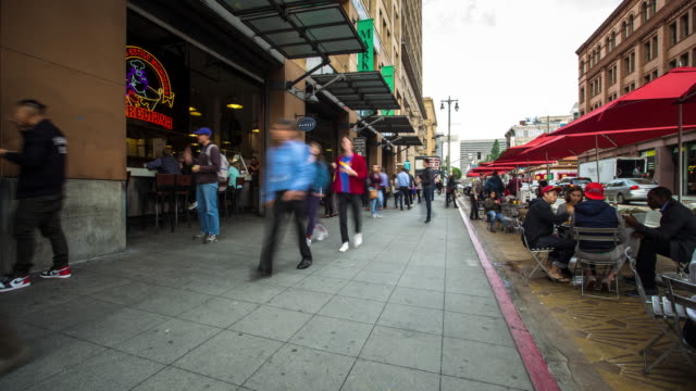 grand central market, downtown la - time lapse - food court stock videos and b-roll footage
