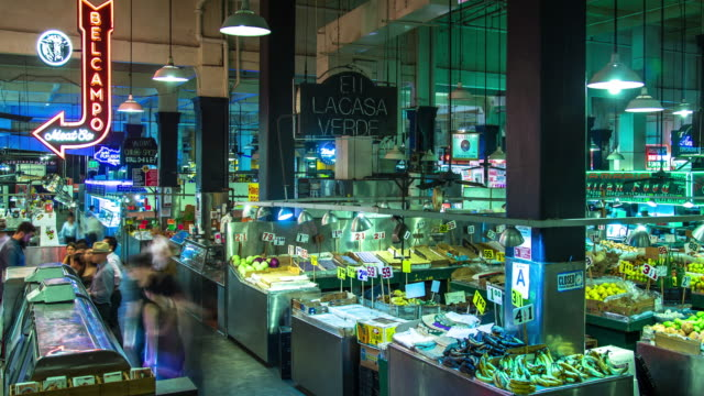 grand central market, los angeles - time lapse - greengrocer's shop stock videos and b-roll footage
