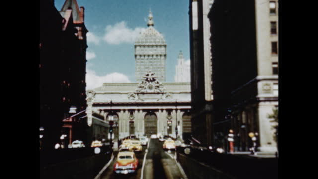 1948 grand central station and environs - 1948 stock-videos und b-roll-filmmaterial