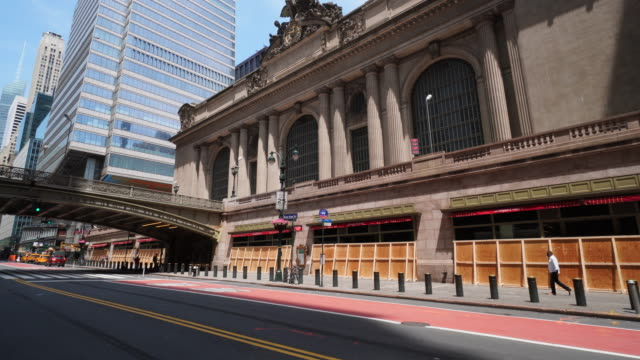 grand central station boarded ups the windows for prevention from mob violence of george floyd death protesters at midtown manhattan new york city ny... - yellow taxi stock videos & royalty-free footage
