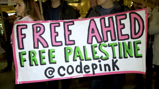 Grand Central Station – Grand Hall Palestinian and Israeli activist and supporters protest the arrest of Ahed Tamimi a 16yearold Palestinian girl...