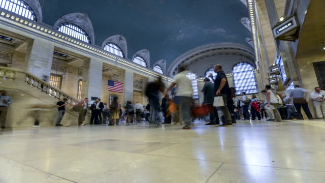 time lapse, grand central station, new york city - station stock videos and b-roll footage