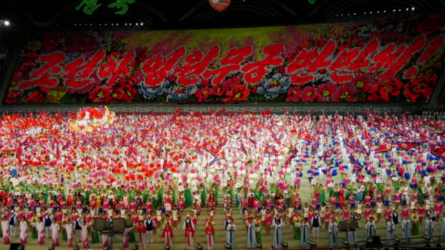 tl – grand finale with amazingly many performers during mass games in pyongyang north korea dprk medium shot - spoonfilm stock videos and b-roll footage