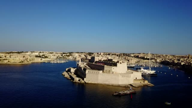 grand harbour and fort saint angelo in valletta malta - malta stock videos & royalty-free footage