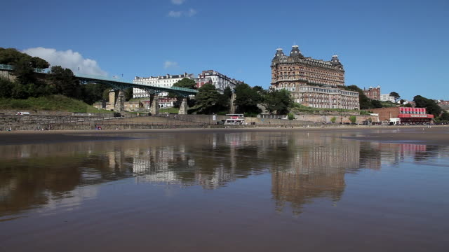 grand hotel & reflection - scarborough uk stock videos & royalty-free footage