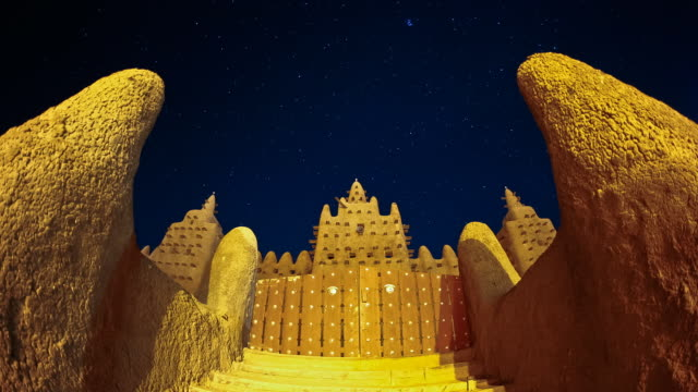 t/l, ws, grand mosque of djenne night to day / djenne, mali - grand mosque stock videos and b-roll footage