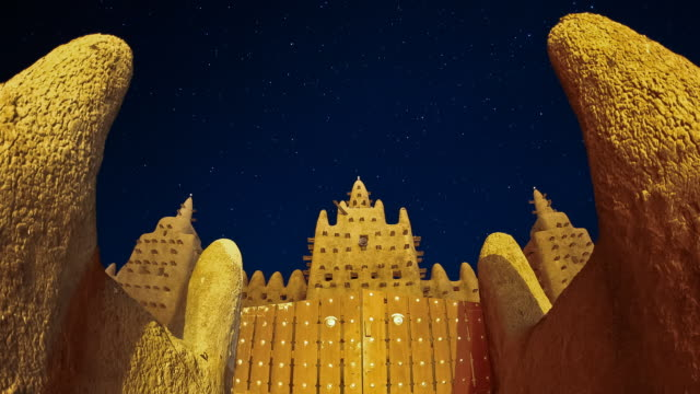 T/L, WS, ZO, Grand Mosque of Djenne night to day / Djenne, Mali