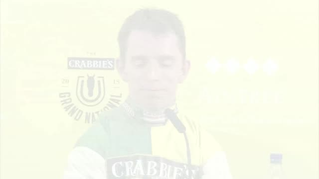 grand national 2015 won by many clouds int leighton aspell along into press conference leighton aspell press conference sot don't know what would... - richard pallot stock-videos und b-roll-filmmaterial